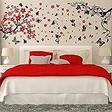 Walplus - Set di adesivi da parete: mod. WS5034 (boccioli), mod. WS5036 (ramo in fiore con farfalle nere 3D Butterfly)