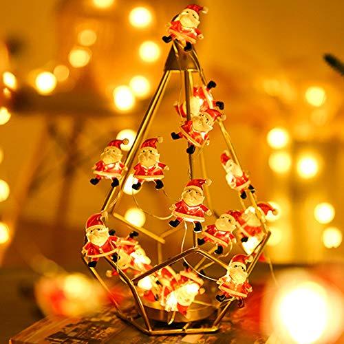 Luci Natalizie a Forma di Babbo Natale, Surwin arcobaleno Decorazione Catena Luminosa a Batteria Stringa Luci per Albero di Natale, Giardino, Feste (Babbo Natale,5M/50LED)