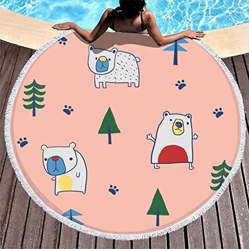 WT-DDJJK Toallas de Playa, Manta de Playa Extragrande de Dibujos Animados de Osito con Flecos Tapiz Hippie de Felpa Gruesa Circular Redonda 59'Talla única Blanca