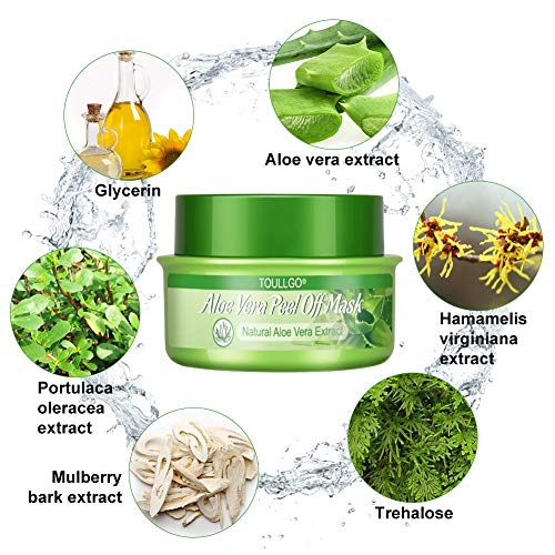 Aloe Vera Face Mask, Peel-off Mask, Blackhead Remover Mask, Deep Purifying Cleansing - Acne Treatment - Oil Control - Facial Moisturizing, 160g