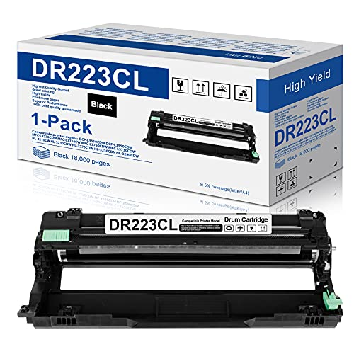 1-Pack Black Compatible DR223CL Drum Unit Replacement for Brother DR-223CL Drum Works with Brother MFC-l3770CDW MFC-l3750CDW MFC-l3710CW HL-l3290CDW HL-l3270CDW HL-l3210CDW HL-L3230CDW Printer
