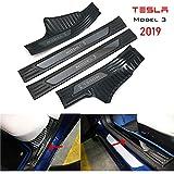 CONRAL 4 STK Auto Einstiegsleisten Aufkleber für Tesla Model 3, Autotür Schutz Kratzfeste Schutzfolie Lackschutzfolie Türeinstiege Schritt Platte Anti Scratch Abdeckung