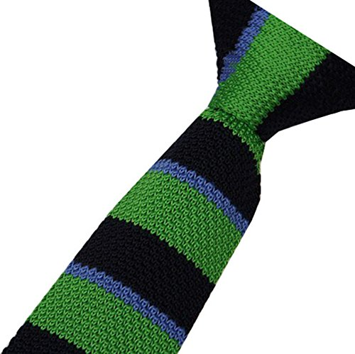 S.R HOME Cravate mince pour homme Rayure Verte bout carré de 6cm