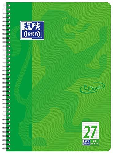 OXFORD 400086494 Collegeblock Touch i format A4 80 ark linjerat med dubbel kant gräsgrönt skrivblock anteckningsblock brevblock skolblock