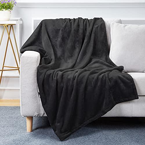 Bobor Black Throw Blanket for Couch Bed, Flannel Fleece Decorative Throw, Fuzzy, Fluffy, Plush, Soft, Cozy, Warm Blankets