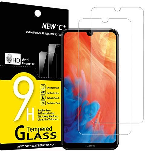 NEW'C 2 Stück, Schutzfolie Panzerglas für Huawei Y7 (2019), Y7 Pro (2019), Y7 Prime (2019), Frei von Kratzern, 9H Festigkeit HD Bildschirm0.33mm Ultra-klar Ultrawiderstandsfähig