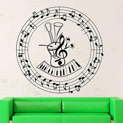 Partituras pegatinas de pared notas musicales guitarra instrumento musical decoración estudio concierto vinilo ventana calcomanías mural creativo
