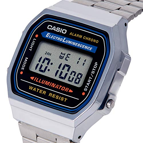 Casio Collection A168WA-1YES, Reloj Rectangular, Unisex, Plateado
