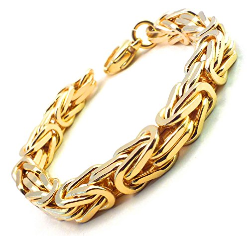 Königsarmband Gold Doublé 8 mm 21 cm Armband Herren-Armband Goldarmband Damen Geschenk Schmuck ab Fabrik Italien tendenze BZGY8-21