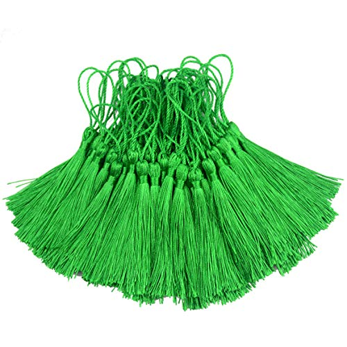 100pcs 13cm/5 Inch Silky Floss Bookmark Tassels with 2-Inch Cord Loop and Small Chinese Knot for Jewelry Making, Souvenir, Bookmarks, DIY Craft Accessory (Green)