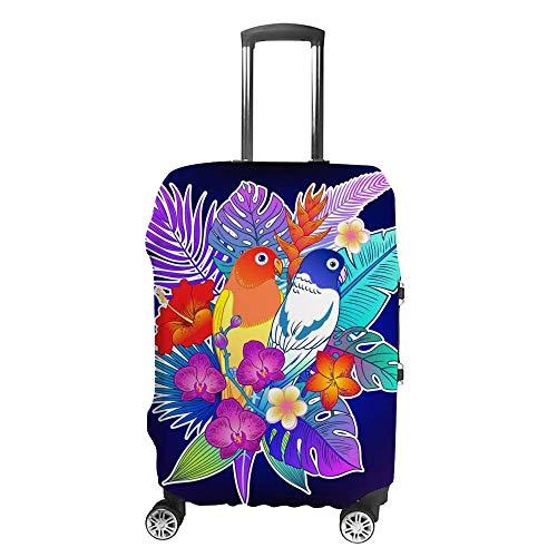 Gepäckabdeckung, verdickt, waschbar, tropisch, violett, Papagei, Vogel, Dschungel, Blumen, Polyester, Faser, elastisch, faltbar, leicht, Reisekoffer-Schutz
