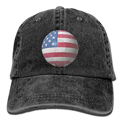 AOHOT Classic Hombre Mujer Gorras de béisbol,USA Soccer Ball Denim Hat Adjustable Men Surf Baseball Hats