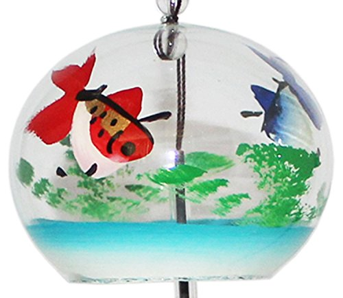 Japanese Handmade Wind Chime with Blue and Red Goldfish