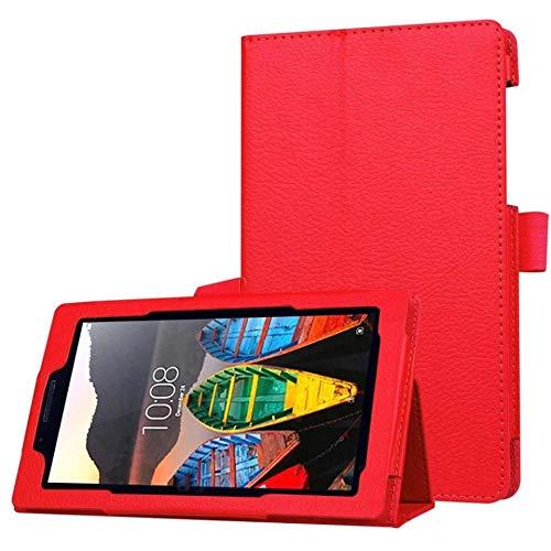 Cubierta para Lenovo TAB3 7 Funda de Cuero de PU de Moda Esencial para Lenovo Tab 3 710 710i 710F TB3-710F Flexible Flip Stop Casos Slim-Rojo
