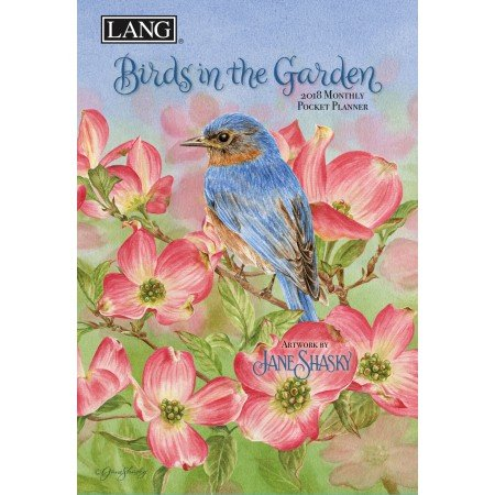 "LANG - 2018 Monthly Pocket Planner - ""Birds In The Garden"" - Artwork By Jane Shasky - 13 Month - January to January - Portable 4.5"" x 6.5"""