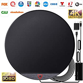 Amplified HD Digital Round TV Antenna Long 250+ Miles Range - Support 4K 1080p Fire tv Stick and All Older TV s - Indoor Smart Switch Amplifier Signal Booster - 18ft HDTV Cable/AC Adapter  Renewed