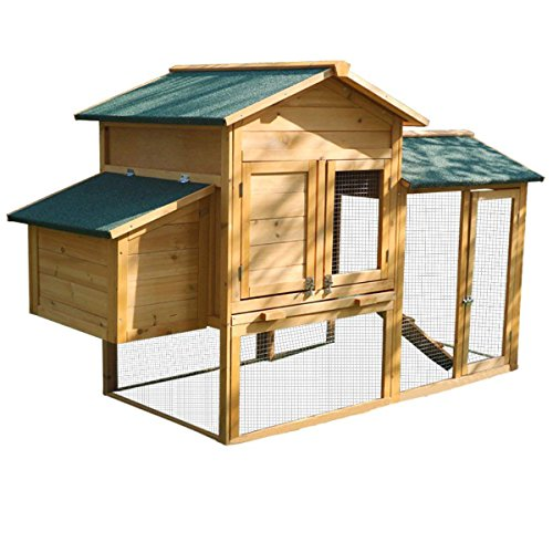 Yardeen Chicken Coop Large Wooden Bunny Rabbit Hutch Hen Quail Pet Cage for Winter and Windy Backyard Outdoor with Nesting Box and Run Cage