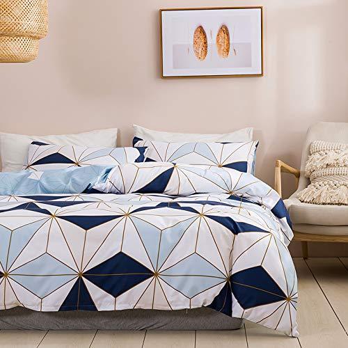 Bettwäsche 220x240 Blau Weiß Bettbezug Geometrisch Microfaser Bettwäscheset Jugendliche Weiß Deckenbezug King Size 3 Teilig Modern Luxus Bettgarnitur Paare Set Reißverschluss (SSXC,220X240cm 80x80 cm)