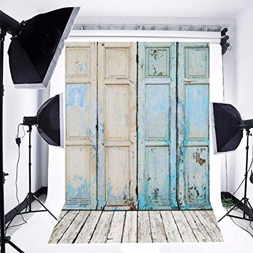 Newest Blue Four Wood Door & Wood Floor Vinyl Wedding Backdrop Background