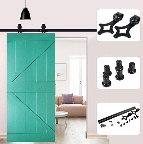183 cm / 200 cm Deslizable Riel Ruedas rodillos hardware de la puerta, puerta corredera Door Hardware Kit, Scivolante Barn Wood Closet Track Set (200 cm, 3)