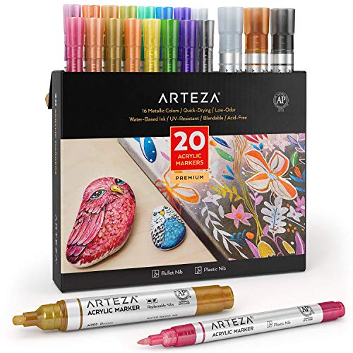 Arteza Metallic Acrylic Paint Markers, Set of 20, 16 Long-Lasting Acrylic Pens...