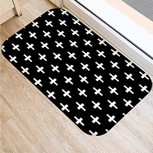 HLXX Alfombrillas clásicas Negras Blancas geométricas Impresas para baño, Cocina, alfombras, felpudos, Alfombra para Sala de Estar, Cinta Antideslizante A7, 40x60cm