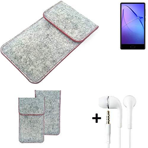 K-S-Trade® Handy Schutz Hülle Für Leagoo KIICA Mix Schutzhülle Handyhülle Filztasche Pouch Tasche Hülle Sleeve Filzhülle Hellgrau Roter Rand + Kopfhörer