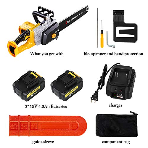 Waspt Cordless Chainsaw 16 inches with 2 of 18v Batteries and 1 of Charger, Brushless Motor