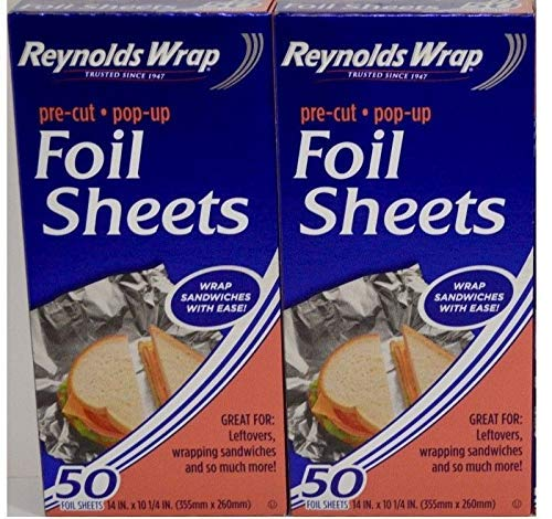 Reynolds Wrappers Pop Up Foil Sheets 50 Ct - Pack of 2