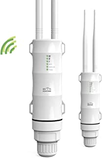 Outdoor WiFi Range Extender, High Power 2.4GHz Outdoor WiFi Repeater Wireless Access Point, Dual Omni Directional Antennas, Passive Poe, IP65 Weatherproof, Extend WiFi to Your Garden Backyard