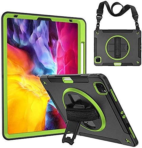 YIU Funda para iPad Pro 12.9 con asa 2020, resistente a los golpes, resistente a los golpes, funda híbrida de 3 capas para niños con soporte giratorio 360, correa para el hombro, rojo, verde