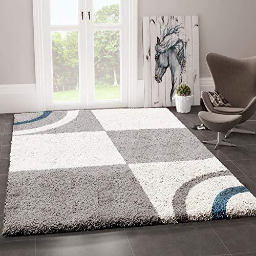 VIMODA Wohnzimmer Teppich Hochflor Shaggy Deko kariert Streifen Turkis Creme Grau Pflegeleicht Modern, Maße:200x280 cm
