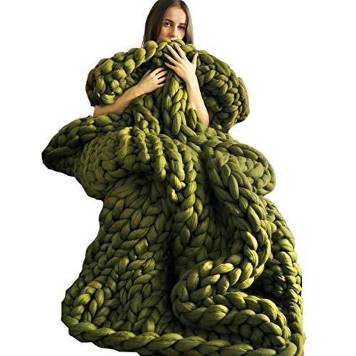 Blanket Couverture Tricotée Chunky De Main, Couverture Molle Molle d'hiver pour des Filles De Bébés Garçons,Green-120 * 150cm