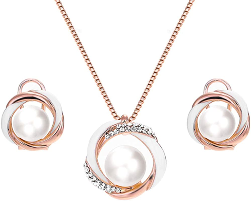 Rose Direct store Gold Pearl Jewelry Set Enameled Circle Women Two Tone Limited time for free shipping
