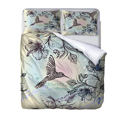 zzqxx Home Superking Duvet Cover Set Flowers and hummingbirds Bed Set Quilt Cover with Zipper Soft 100% Polyester Includes 2 Pillow Cases 3D Printed Bedding for Boys Girls Adults 260x220cm