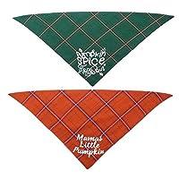 POPETPOP 2Pcsペット犬ネッカチーフクリスマスペット綿唾液タオル緑赤格子縞の犬の三角形のスカーフ犬のハンカチ洗えるペットバンダナビブ犬のクリスマス感謝祭の日の贈り物