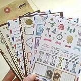 ZheJia Juego de 6 hojas Adhesivos decorativos artesanales para lácteos Regalo de álbum Adhesivo de sello de papel 6pcs set