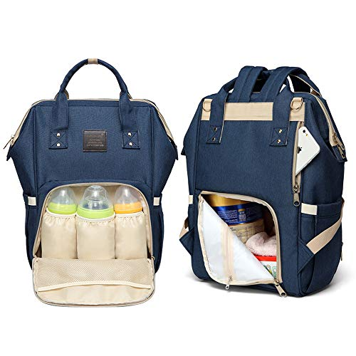 Multifunction Large Capacity Backpack Baby Care Diaper Mummy Bag Portable Light Changing Bags with Water Bottle Frame (Navy blue+changing pad)