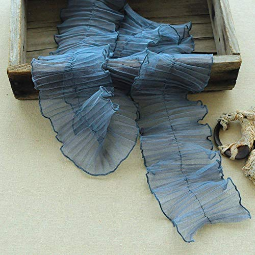 10cm brede midden geplooide ruches tule kant stof DIY kleding hals manchetten zijversieringen speelgoed prinses rok naaien trim, zwart, 1 yard