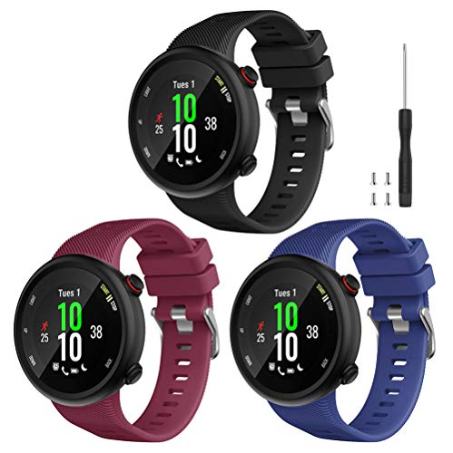 Watbro Compatible with Garmin Forerunner 45 Band, Soft Silicone Sport Replacement Watch Band, Fitness Strap Bracelet Wristband for Garmin Forerunner 45 Smartwatch