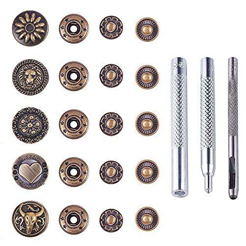 PandaHall Juego de 30 broches de Piel, Botones de Metal con Herramientas de instalación con Ojales, broches de Cuero de Bronce Antiguo para Ropa, Chaquetas, Vaqueros, Pulseras, Bolsas