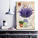 Embellir Vintage Violet Lavande Toile Peinture Provence Paysage Mur Art Affiche Huile Image Pour La Décoration Intérieure Salon Photo 30x45 CM Pas de cadre