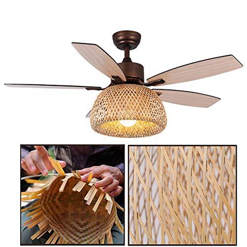 NAF Deckenventilator 122 cm Durchmesser, 5 Flügel braun, Bambus und Rattan handgewebt, mit Einzelleuchte