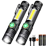 Rechargeable Flashlight, Magnetic LED Flashlight with COB Light (Battery Included), Super Bright, Zoomable, Waterproof, 4Mode for Camping, Emergency use, 2pack