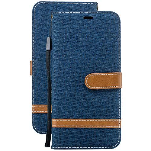 Laybomo Etui pour Xiaomi Redmi Note 7 Housse Etui Cuir Jeans Style Pochette Portefeuille Aimant Protecteur Flip Cover Doux TPU Silicone Coque Redmi Note 7 avec Slot pour Carte (Bleu Profond)