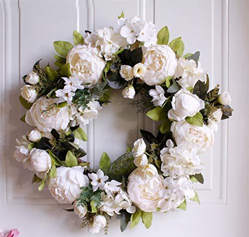 白牡丹模拟花环 40 厘米/15.7 英寸万圣节花环藤人造门花环,家庭装饰,圣诞节,感恩节,装饰品开花环(白色)