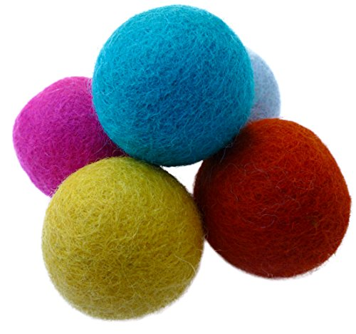 Earthtone Solutions Wool Felt Ball Toys for Cats and Kittens, Fun Adorable Colorful Soft Quiet Felted Fabric Balls, Unique Handmade Natural, Perfect for Cat Lover, Craft Supplies