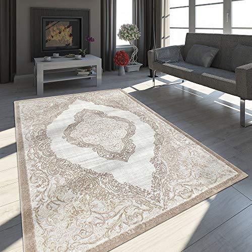 Paco Home Alfombra De Salón, Diseño Vintage Oriental Moderno, Adornos 3D con Hilo Brillante, tamaño:120x170 cm, Color:Arena