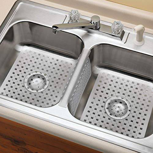 Kitchen Sink Protector Mat Pad Set, 3 Piece Combo Set Includes -2 Sink Mats - 1 Sink Saddle - 3 Drain Stopper