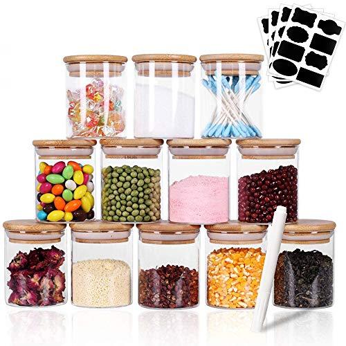 Esportic Vorratsdosen Glas mit Holzdeckel 12er Set, 150ml Glas Gewürzgläser Luftdicht Glasbehälter Frischhaltedosen, Vorratsdosenset Glas Aufbewahrung Küche Tee Gewürzgläser